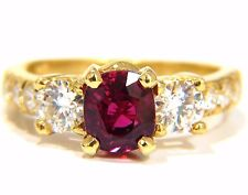 GIA Certified 2.12ct cushion cut vivid red ruby 1.06ct diamonds ring 18kt