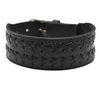 """Leather 2"""" Wide Dog Collar Braided Striped Pet Collar For Large Dogs Heavy Duty"""