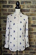 JOE FRESH Floral Boho Button Down Shirt Blouse LS Top size XS White Blue EUC CA