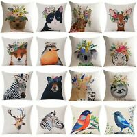Cushion Cover Cotton Linen Wreath Animal Home Decor Pillow Case Sofa Waist Throw