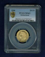 SWITZERLAND REPUBLIC  1886 20 FRANCS GOLD COIN, UNCIRCULATED CERTIFIED PCGS MS63