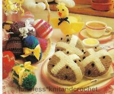 VINTAGE KNITTING PATTERN FOR EASTER EGGS, CHICK & HOT X BUNS - KNITTED NOVELTIES
