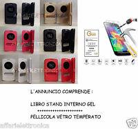 PER LG K8 K350N CUSTODIA COVER LIBRO FINESTRA STAND + PELLICOLA VETRO TEMPERATO