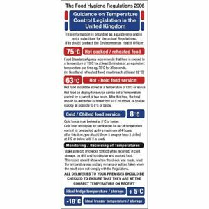 1995 Food Act Cook Chill Guidelines Sign Self Adhesive and Highly Visible