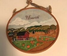 Harvest Homecoming Folk Art Hearth Message Wall Plaque Handpainted Russ Vintage