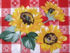 RED CAFE CHECK GINGHAM SUNFLOWER WESTERN BBQ COUNTRY PICNIC SEWING FABRIC BTHY#