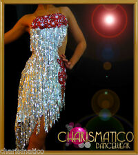 8a058669b438 Charismatico Silver Red SALSA DANCE BALLROOM Dress DANCEWEAR