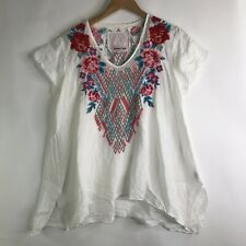 Johnny Was 3J Workshop White Embroidered Semi-Sheer Tunic Top Size Medium