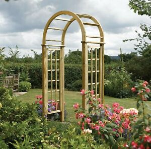 Heavy Duty Wooden Round Top Arch With Lattice Pressure Treated