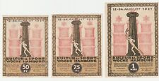 Germany 50 75 Pfennig 1 Mark 1921 Notgeld Hamburg AU-UNC Banknote Set - 3 pcs