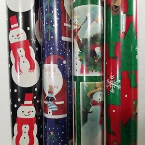 Wrapping Paper Roll Christmas 110 Sq Ft Santa Clause Snowman Lumberjack Bear