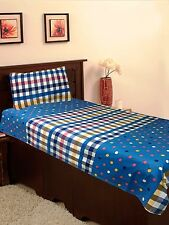 Homefab India Blue Cotton Single Bed-Sheet (Single183)