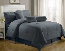 Luxurious 7-Piece Comforter Set King Size Bedding Gray Bedspread Bed in a Bag