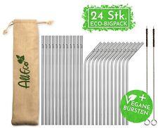 Metall Strohhalm Edelstahl AllEco 24 Stk. Set + 2 Reinigungsbürsten + Eco-Beutel