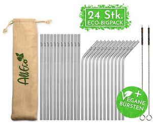 AllEco Edelstahl Strohhalm Set 24 Stk. Set + 2 Reinigungsbürsten + Eco-Beutel