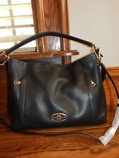 Large Authentic Black Pebbled Leather COACH Tote Cross Body Handbag!