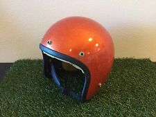 RARE Vintage 1970's ORANGE METAL FLAKE Open Face HELMET Motorcycle CLEAN Bell
