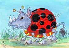 rhino Ladybug rhinoceros ACEO EBSQ Kim Loberg Fantasy insect Mini Art zoo Animal
