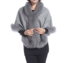 Cashmere Shawl Cape Wrap Scarf with Fox Fur Trim Gray New Real