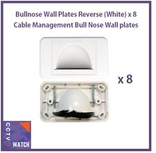 Bullnose Wall Plates Reverse (White) x8 Cable Management Bull Nose Wall plate