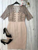 LK Bennett Size 12 BNWT Houston dress blush pink lace summer wedding races