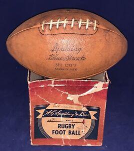 Antique 1930's Spalding CGV Blue Streak Football w Partial Box Vintage Early Old