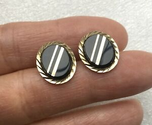 9CT GOLD & ONYX FLASHED PANEL MENS CHAIN LINK CUFFLINKS - 4.8 GRAMS HALLMARKED