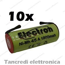 10x BATTERIA RICARICABILE NI-MH 4/5A 4/5AF 1,2V 1800mAh 17x42mm A SALDARE NIMH
