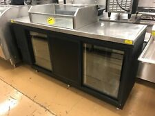 84 Back Bar Cooler With Sliding Doors And Ice Well Top Glastender