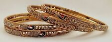 Indian Traditional Women Gold Plated Peacock Bangles Set of 4 Ethnic Size 2.4