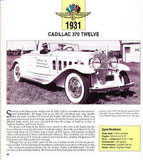 1931 Cadillac 370 Twelve Indy 500 Race Pace Car Review Print Article J460