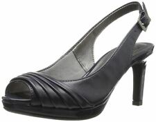 LifeStride Invent Navy F Leather Womens Open PEEP Toe High Heel Shoe Pump 10