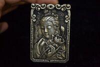 Chinese tibet Silver carve kwan-yin lotus amulet woman pendant Collectible