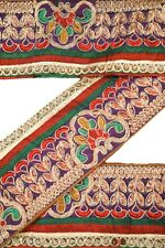 Vintage Antique Trim Ribbon Saree Border Embroidered Deco Craft by The Yd ST1729