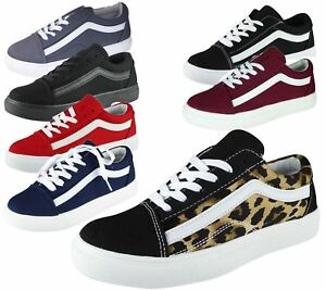 Womens Casual Trainers Ladies Lace Up Running Gym Canvas Sneakers Loafers Pumps