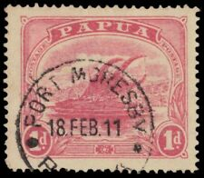 "PAPUA NEW GUINEA 51 (SG85a) - Lakatoi Trading Canoe ""1911 Rose Pink"" (pb25742)"