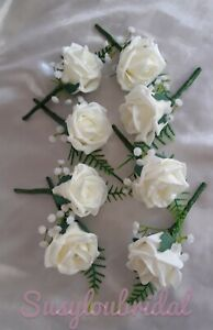 8 x Wedding Flowers Buttonholes With Diamante Centre, Foam Roses, Groom, Guest