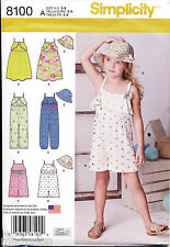 SIMPLICITY SEWING PATTERN 8100 GIRLS 3-8 LONG & SHORT JUMPSUITS ROMPER DRESS HAT