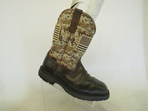 Ariat Camo Brown Leather American Flag Steel Toe Cowboy Work Boots Mens Sz 10 D