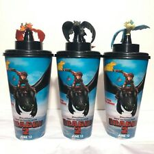 3pcs How To Train Your Dragon 2 Movie 2014 Theatres Cinemas Toothless Cup Topper