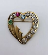 Vintage CATAMORE 12k Gold Filled & Colorful Rhinestone Heart Pin Brooch