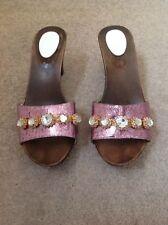 Matty Silver Pink With Jewelled Strap Slip On Sandals 5.5 Uk  38 EU
