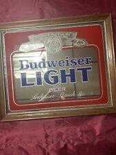 Vintage Budweiser Light Beer Framed Bar Mirror Mirrored Glass Sign