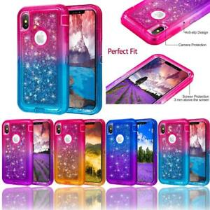 For iPhone XR XS Max Gradient Glitter Quicksand Liquid Full-Body Protective Case