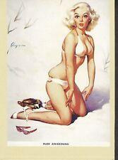 "Elvgren Pin Up Girl Postcard ""Rude Awakening"" Sexy Beach Bikini Mishap 4x6"