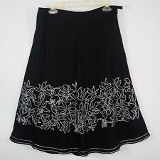 Rafaella Black Linen Bias Skirt White Floral Embroidery Beads Sequins Dressy 10