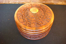 OLD VINTAGE HANDCARVED Wood jewelry box flower case