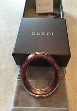 Gucci Runway Metal Clear Plexiglass Overlay Cuff Women Bracelet Designer New