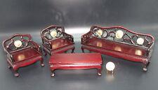 4pc DOLLHOUSE MINIATURE Oriental/Asian Style Room Set SOFA-CHAIRS-TABLE 1:12