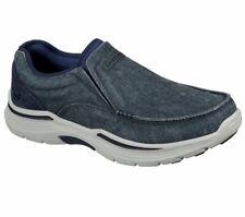Skechers Blue Shoe Men's Canvas Memory Foam Slip on Comfort Loafer Casual 204009